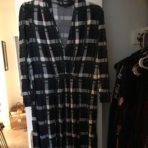 French Connection Tie Waist Plaid Tea Dress